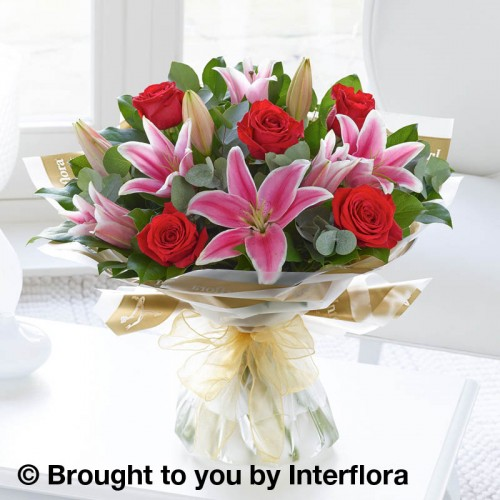 Red Rose and Pink Lily Hand-tied product image