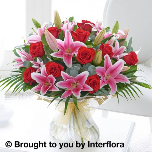 Extra Large Red Rose and Pink Lily Hand-tied product image