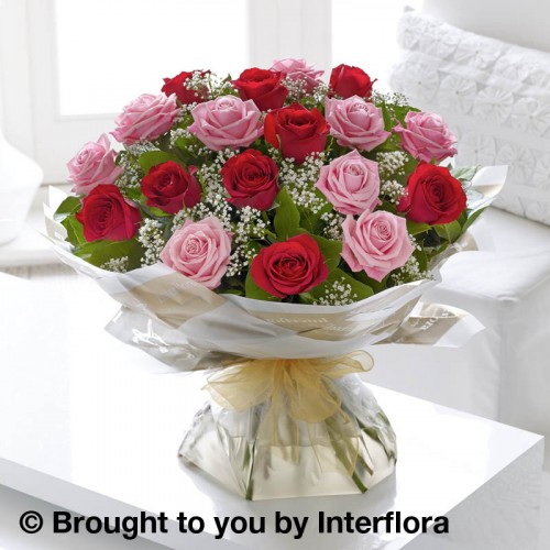 Large Heavenly Pink and Red Rose Hand-tied product image