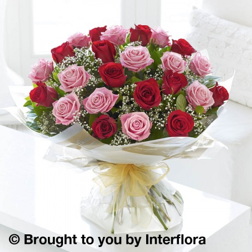 Extra Large Heavenly Pink and Red Rose Hand-tied product image