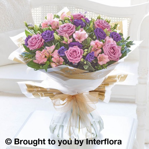 Large Lilac Rose and Alstroemeria Hand-tied product image