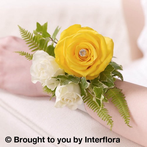 Yellow Rose and Fern Wrist Corsage product image